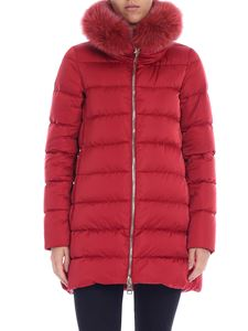 Herno - Red down jacket with fur collar