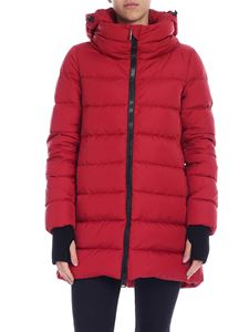 Herno - Dark red down jacket with knitted cuffs