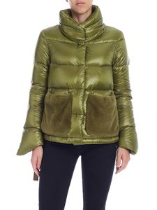 Herno - Green down jacket with faux fur pockets