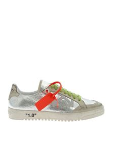 Off-White - Sneakers effetto crackle color argento