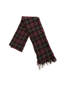 Y's Yohji Yamamoto - Red and green tartan pattern scarf with fringes