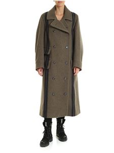 Maison Margiela - Green long coat with blue stripes pattern