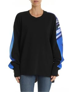 Maison Margiela - Black crewneck sweatshirt with rear multicolor