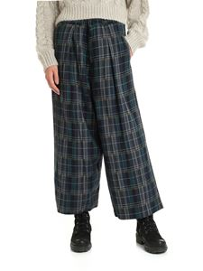 Y's Yohji Yamamoto - Wide trousers with green and blue tartan pattern