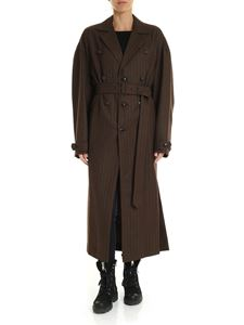 Y's Yohji Yamamoto - Y's Pink long pinstriped coat in brown
