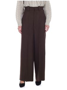 Y's Yohji Yamamoto - Y's Pink pinstripe trousers high-waisted in brown