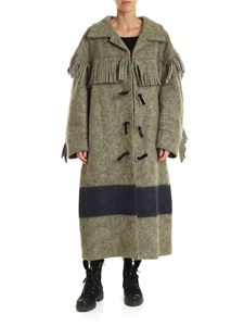 Maison Margiela - Green long coat with fringe