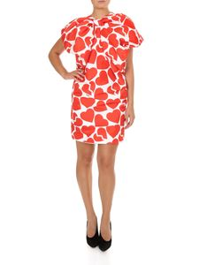 MSGM - Red hearts print bow dress in white
