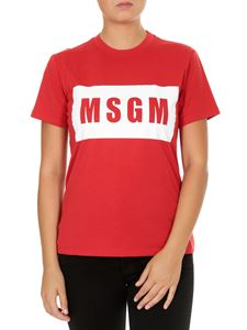 MSGM - Box logo T-shirt in red