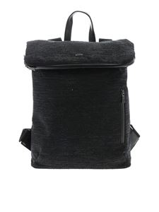 Herno Laminar - Black backpack with tone-on-tone lamé insert