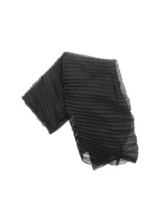 Emporio Armani - Pleated scarf in black