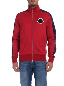 Moncler - Red sweatshirt with blue Moncler logo