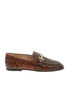 Tod's - Brown and black reptile print loafers