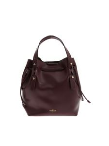Hogan - Leather bag with logo in wine color