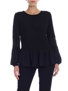 Twin-Set - Black blouse with lace details