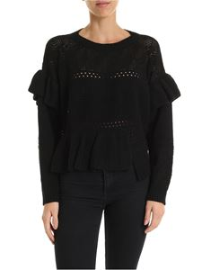 Twin-Set - Openwork crew neck pullover in black