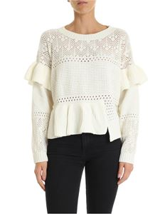 Twin-Set - Openwork crew neck pullover in ivory color