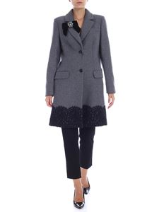Twin-Set - Grey coat with jewel brooch