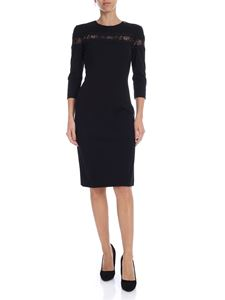 Twin-Set - Black crew neck pencil dress with lace
