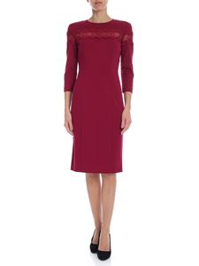 Twin-Set - Crew neck pencil dress with lace in burgundy color