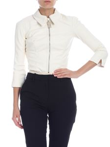Elisabetta Franchi - Body in white eco-leather with golden zip