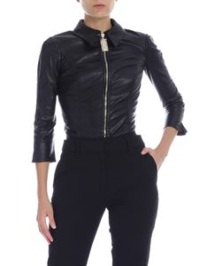 Elisabetta Franchi - Body in black eco-leather with golden zip
