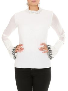 Chloé - Blouse in white silk with embroidered cuffs