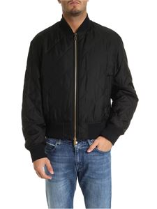 Versace - Quilted silk bomber in black with dragon print