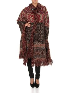 Etro - Folk-chic poncho in shades of red and brown