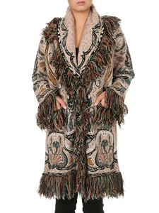 Etro - Coat in shades of green with fringes