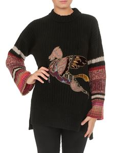 Etro - Sweater in black with Pegaso patwork