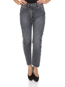Etro - Paisley band jeans in faded gray
