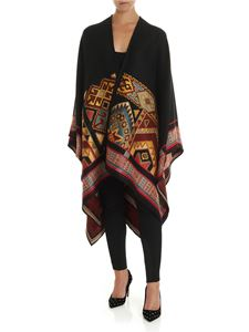 Etro - Carpet motif cape in black