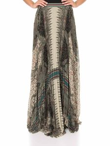 Etro - Pleated Paisley print maxi skirt in green