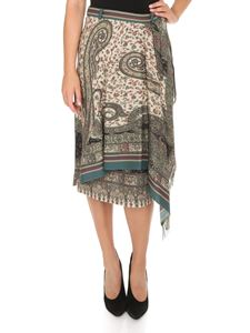 Etro - Wrapped skirt with all over Paisley print in green