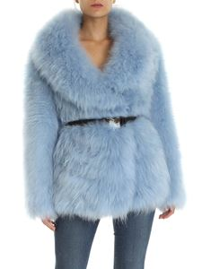 Prada - Lined fur coat in light blue