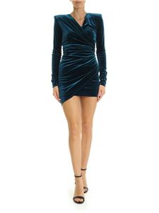 Alexandre Vauthier - Teal blue color dress with side gathering