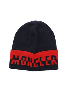 Moncler Jr - Blue and red jacquard beanie