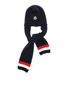 Moncler Jr - Blue beanie with inlays