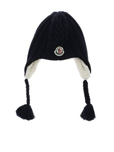 Moncler Jr - Blue beanie with logo patch