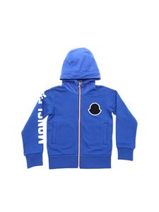 Moncler Jr - Electric blue sweatshirt with hood in technical fabric