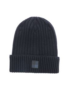 Woolrich - Logo patch beanie in blue