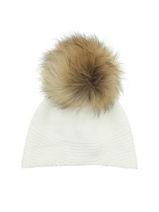 Woolrich - Cap in white with fur pom pon
