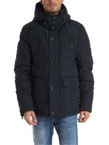 Moose Knuckles - Blue down jacket with removable hood