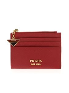 Prada - Red leather coin purse with logo