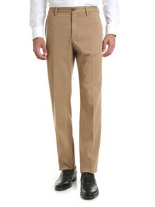 Z Zegna - Camel-colored trousers in diagonal fabric