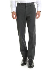 Z Zegna - Anthracite-colored trousers in diagonal fabric