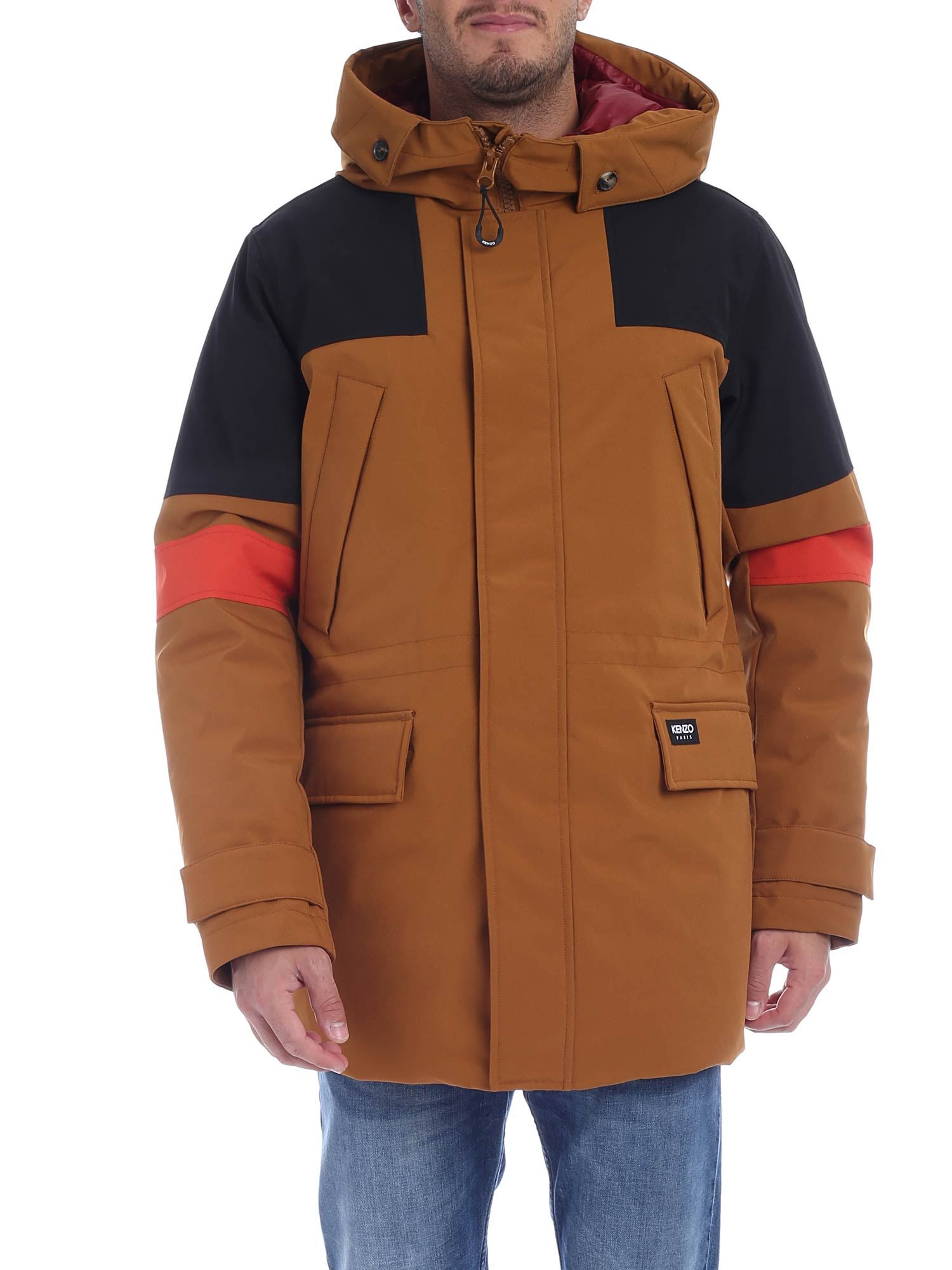 Kenzo Brown And Black Color Block Parka In 13 Drkbeige