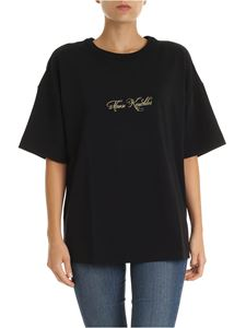 Moose Knuckles - Black oversized T-shirt with golden embroidery
