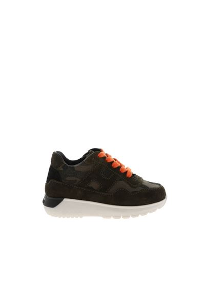 Hogan Junior Fall Winter 19/20 j371 sneakers with green camouflage ...